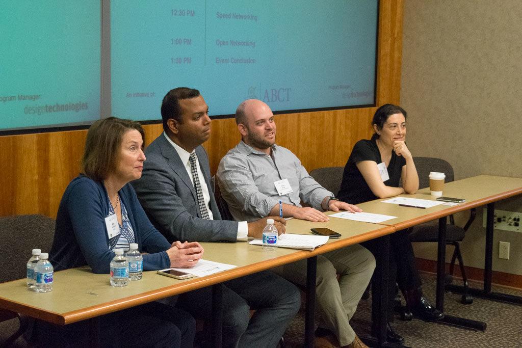 Mary Howard, ABCT Program Manager, Winston Rodriguez, Northwell Ventures, Adam Kirell, BioTrak Therapeutics, and Selin Kurnaz, Massive Bio Inc.